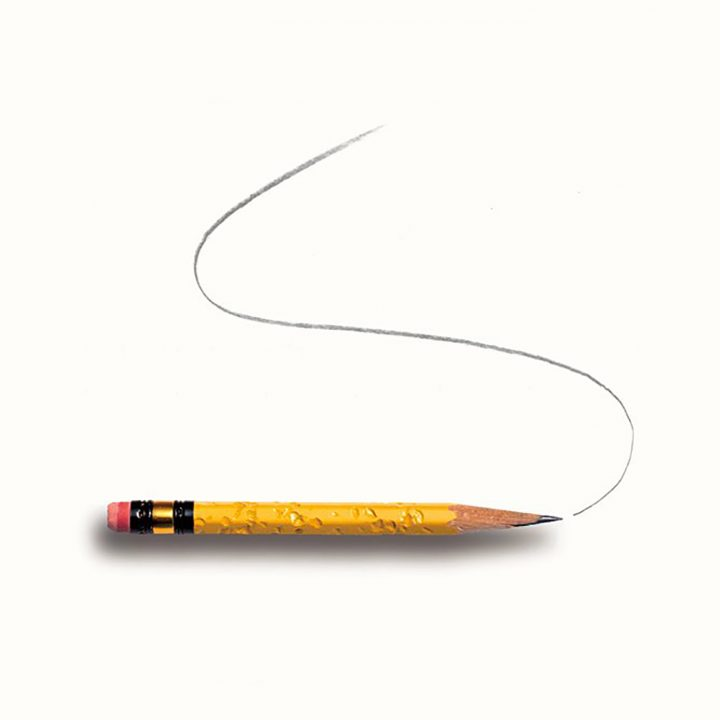 Pencil with a curved line drawn above it