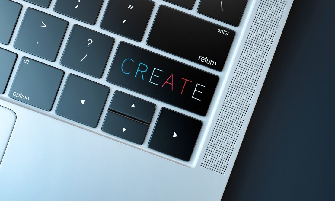Keyboard with the word create on one of the keys