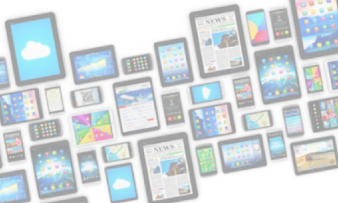 A row of many mobile devices