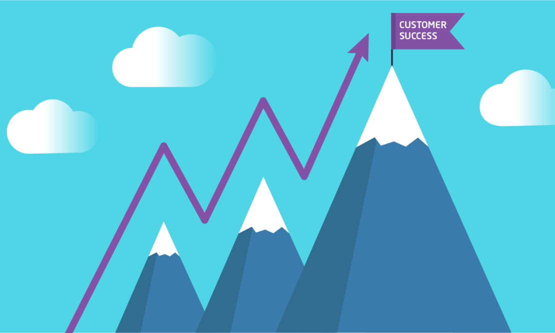 Mountains with a flag on the summit saying Customer Success